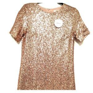 NWT Rose gold sequin mini shift dress
